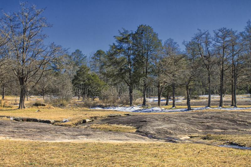 Gli alberi, la neve e le rocce fotografie stock libere da diritti