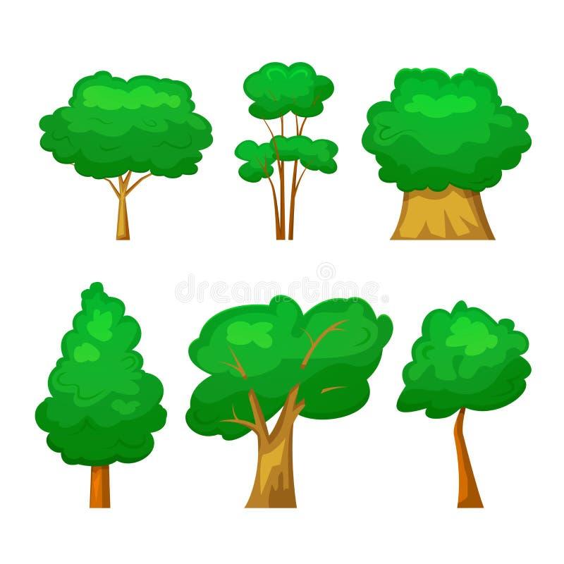 Gli alberi mettono, vector l'illustrazione nello stile del fumetto illustrazione di stock