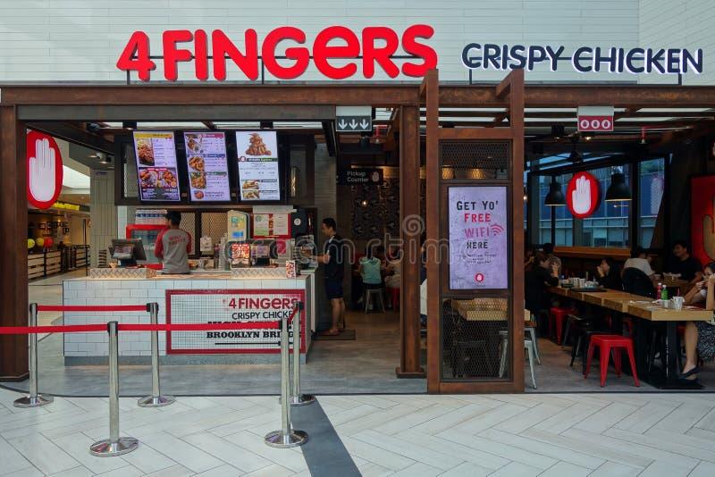 Gli alimenti a rapida preparazione congiungono, 4 dita a Singapore immagini stock libere da diritti