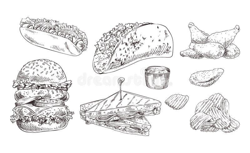 Gli alimenti a rapida preparazione hanno fissato lo schizzo monocromatico di vettore disegnato a mano illustrazione vettoriale