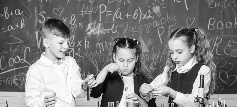Gli allievi della scuola del gruppo studiano i liquidi chimici Laboratorio della scuola Ragazze ed esperimento di comportamento d immagine stock