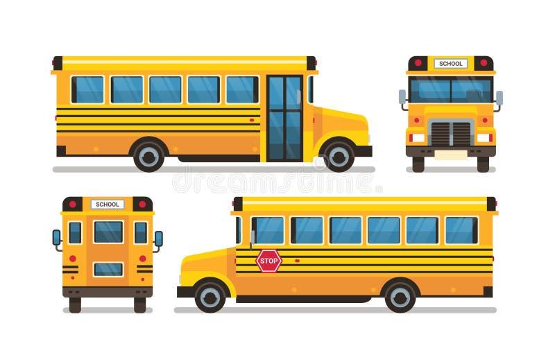 Gli allievi gialli di retrovisione della facciata frontale dello scuolabus trasportano il concetto sull'orizzontale piano del fon royalty illustrazione gratis