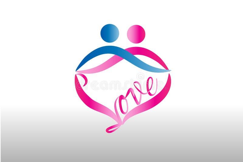 Gli amanti delle coppie abbracciano il modello dell'icona di immagine di vettore di logo royalty illustrazione gratis