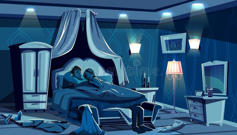 Gli amanti dormono a letto lampade di notte della camera da letto di vettore royalty illustrazione gratis
