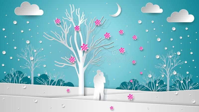 Gli amanti nei precedenti dell'inverno abbelliscono sotto un albero di fioritura Fiori e neve di volo Nuovo anno di carta di stru royalty illustrazione gratis