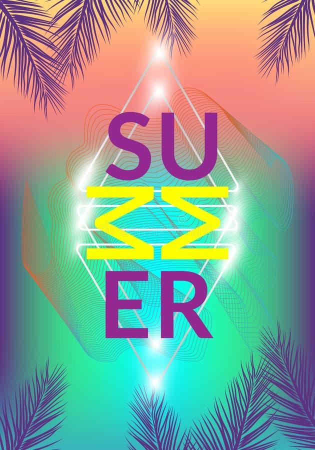 Gli ambiti di provenienza del tumblr della California dell'estate hanno messo con le palme, il cielo ed il tramonto Carta dell'in illustrazione di stock
