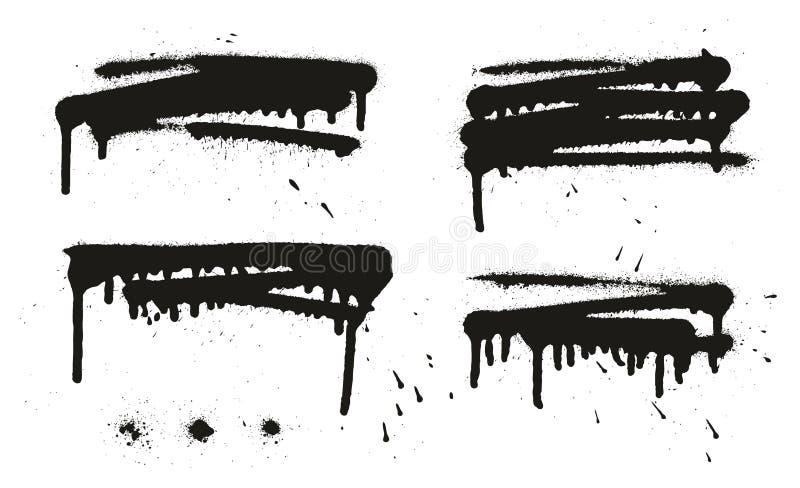 Gli ambiti di provenienza, le linee & i gocciolamenti di vettore dell'estratto della pittura di spruzzo hanno messo 16 illustrazione vettoriale