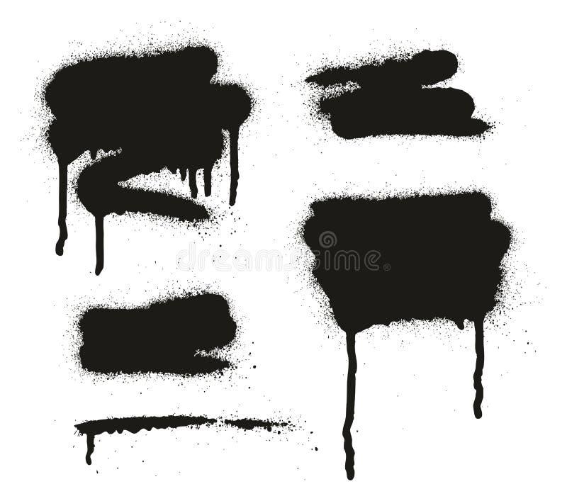 Gli ambiti di provenienza, le linee & i gocciolamenti di vettore dell'estratto della pittura di spruzzo hanno messo 11 royalty illustrazione gratis