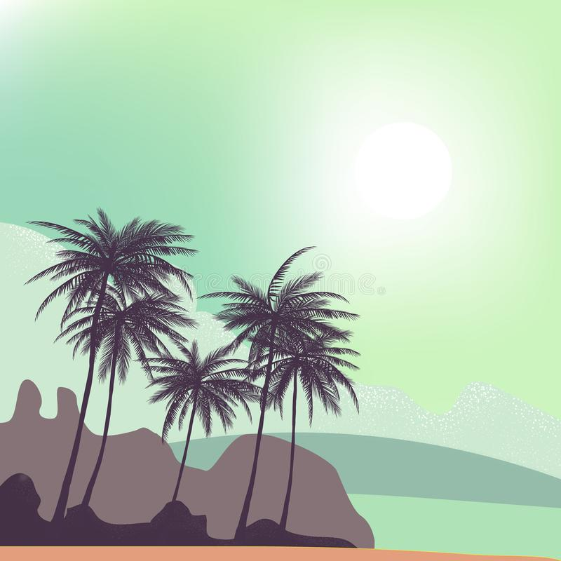 Gli ambiti di provenienza tropicali dell'estate hanno messo con le palme, il cielo ed il tramonto illustrazione vettoriale