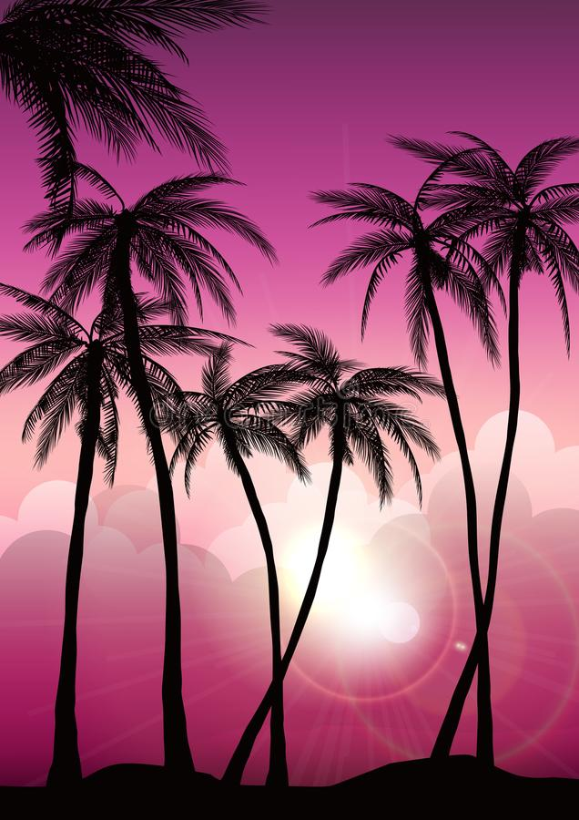 Gli ambiti di provenienza tropicali dell'estate hanno messo con le palme, il cielo ed il tramonto Carta dell'invito dell'aletta d illustrazione vettoriale