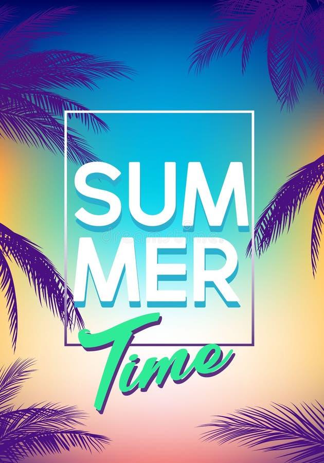 Gli ambiti di provenienza tropicali dell'estate hanno messo con le palme, il cielo ed il tramonto Carta dell'invito dell'aletta d illustrazione di stock