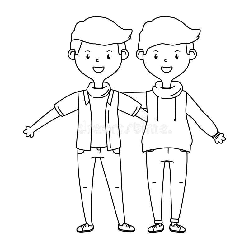 Gli amici adolescenti progettano l'illustrazione di vettore royalty illustrazione gratis