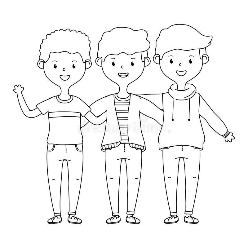 Gli amici adolescenti progettano l'illustrazione di vettore illustrazione vettoriale