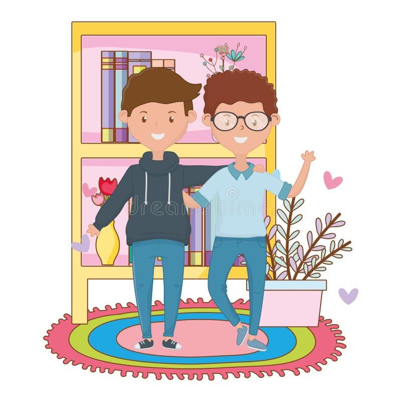 Gli amici adolescenti progettano l'illustrazione di vettore illustrazione di stock