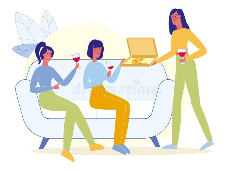 Gli amici bevono il vino, mangiano l'illustrazione piana della pizza illustrazione di stock