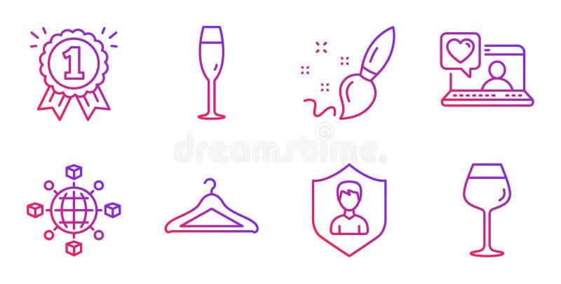 Gli amici chiacchierano, l'insieme delle icone della ricompensa e del pennello Vetro di Champagne, agenzia di sicurezza e segni d illustrazione vettoriale