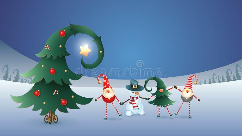Gli amici felici celebrano il solstizio, il Natale ed il nuovo anno di inverno Gnomi scandinavi e pupazzo di neve con l'albero di illustrazione vettoriale