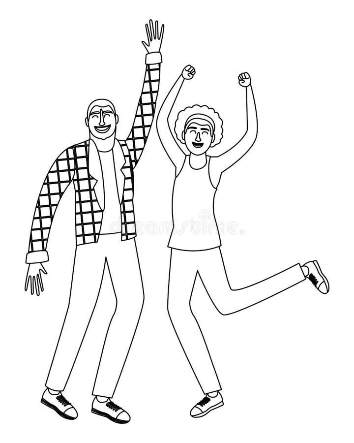 Gli amici felici coppia in bianco e nero in bianco e nero illustrazione vettoriale
