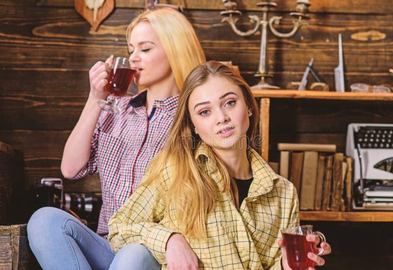 Gli amici sui fronti calmi in plaid copre il rilassamento Ragazze che si rilassano e che bevono vin brulé Amici in attrezzature c fotografia stock