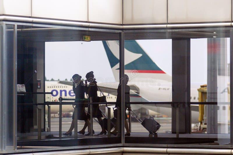 Gli amministratori con là possiedono le borse e l'aereo sui precedenti fotografie stock libere da diritti