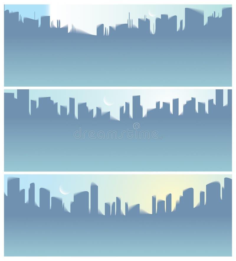 Gli ampi grattacieli della città di panorama profila l'insieme delle illustrazioni di vettore dell'orizzonte royalty illustrazione gratis