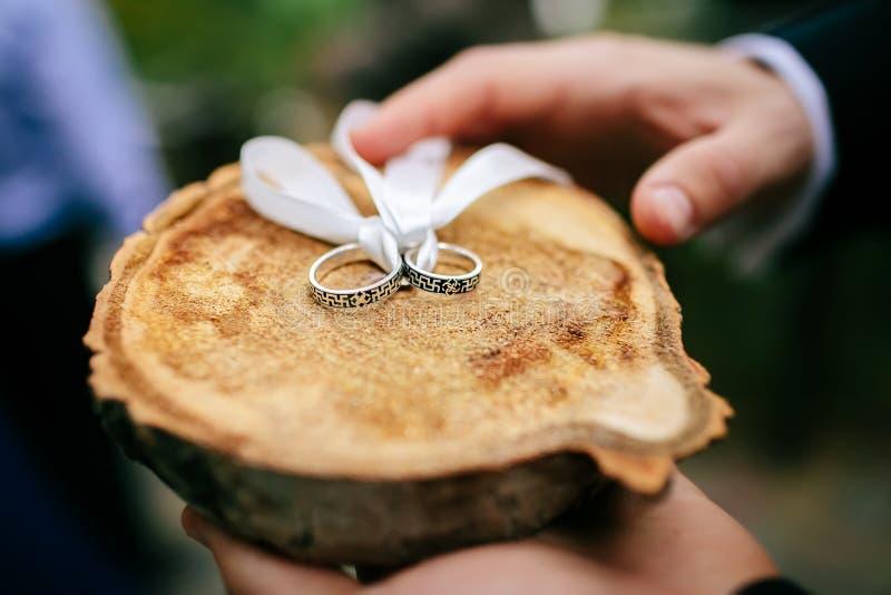 Gli anelli d'argento di nozze su legno hanno tagliato che ha bendato con il nastro bianco fotografie stock libere da diritti