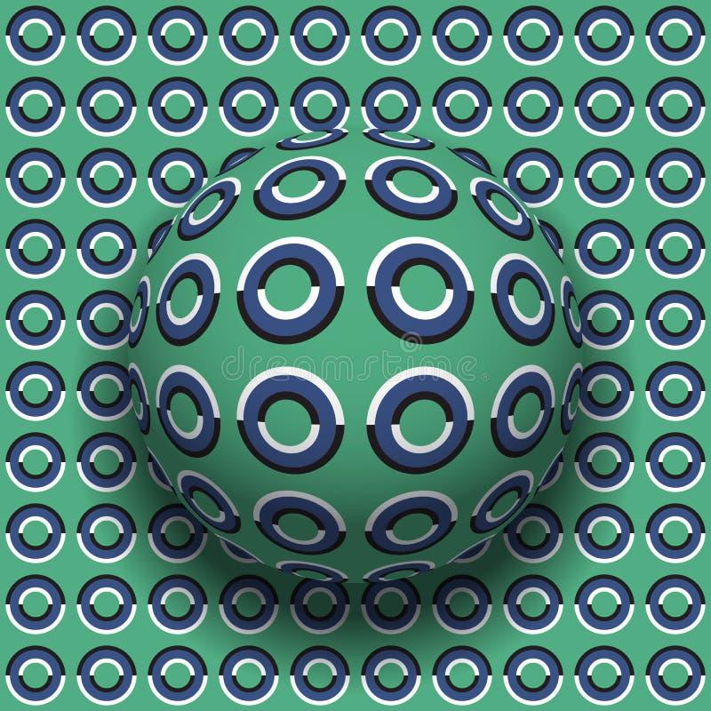 Gli anelli hanno modellato il rotolamento della sfera lungo la stessa superficie Illustrazione astratta di illusione ottica di ve illustrazione vettoriale