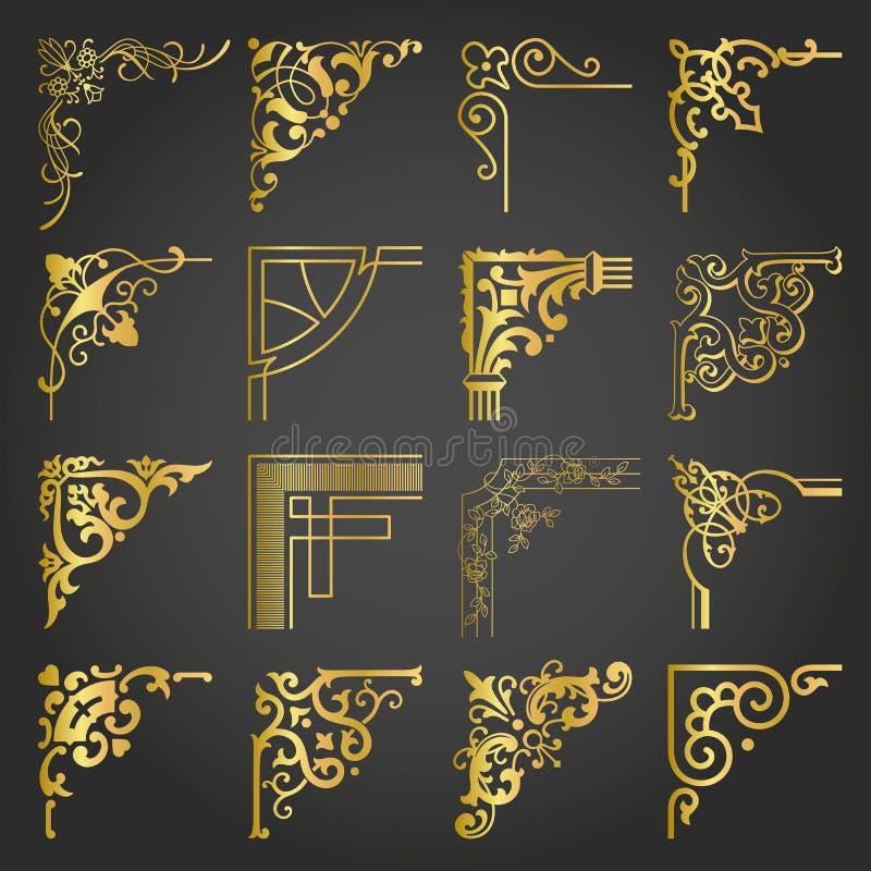 Gli angoli d'annata ed i confini degli elementi di progettazione dell'oro hanno messo 2 illustrazione vettoriale