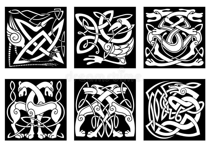 Gli animali celtici hanno decorato l'ornamento irlandese illustrazione di stock