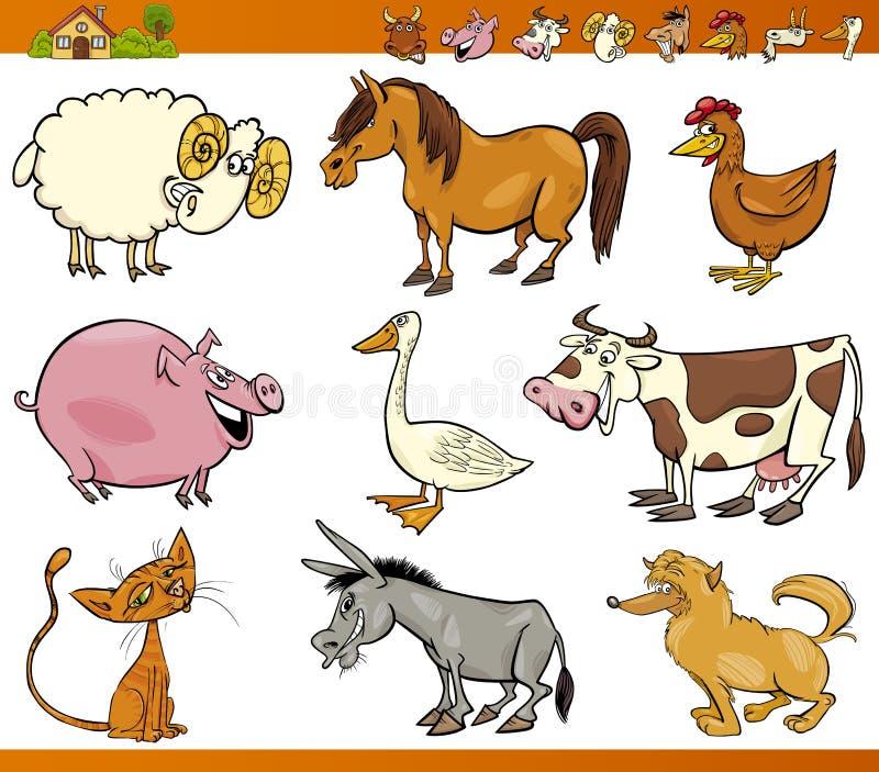 Gli animali da allevamento hanno impostato l'illustrazione del fumetto illustrazione vettoriale