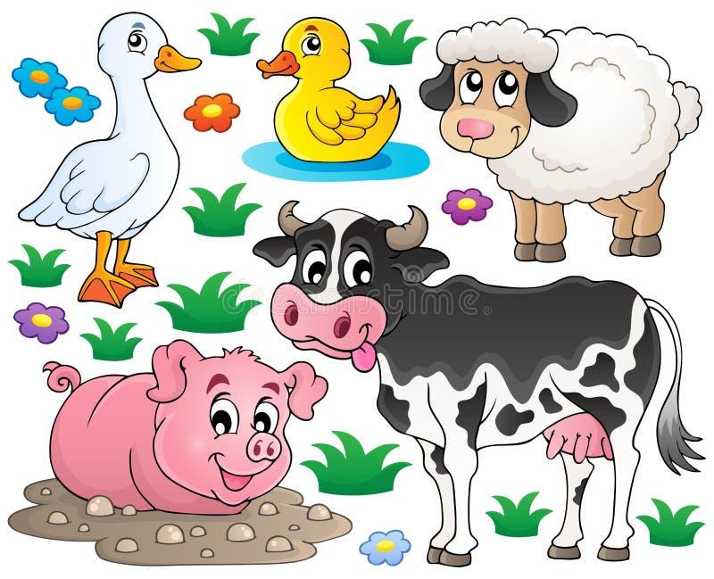 Gli animali da allevamento hanno messo 1 royalty illustrazione gratis