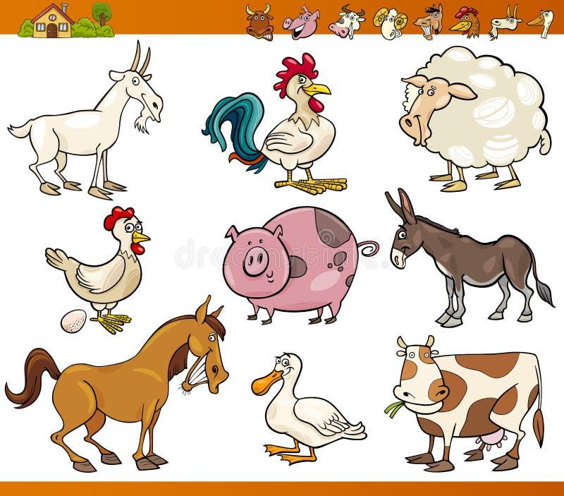 Gli animali da allevamento hanno messo l'illustrazione del fumetto royalty illustrazione gratis