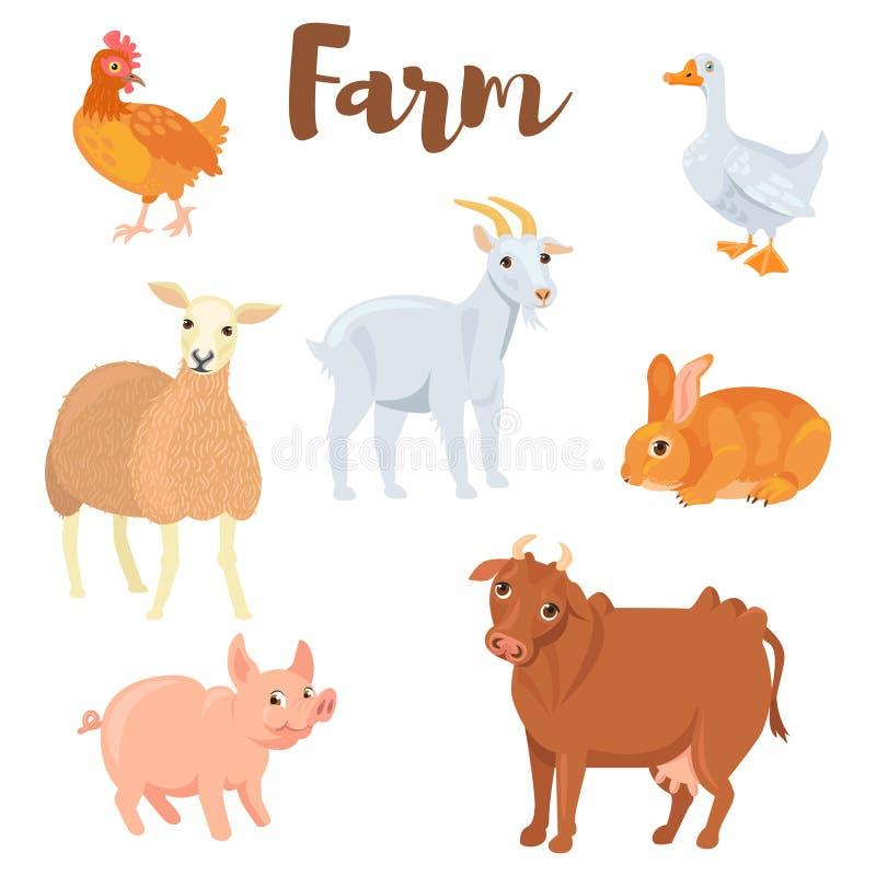 Gli animali da allevamento hanno messo nello stile piano isolato su fondo bianco raccolta degli animali del ute Illustrazione di  fotografia stock libera da diritti