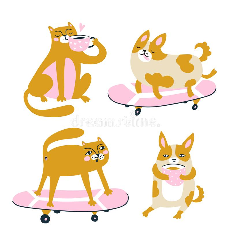 Gli animali divertenti bevono il caffè e guidano un pattino Insieme di vettore - gatti e cani Caratteri svegli royalty illustrazione gratis