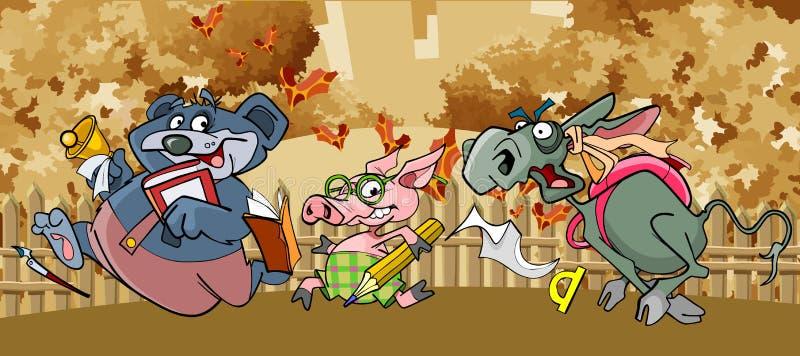Gli animali divertenti del fumetto fuggono alla scuola nella caduta illustrazione vettoriale