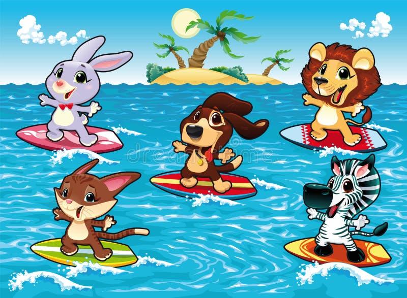 Gli animali divertenti stanno praticando il surfing nel mare. royalty illustrazione gratis