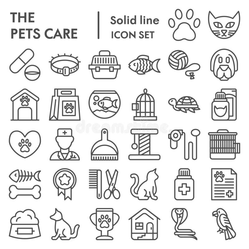 Gli animali domestici si preoccupano la linea insieme dell'icona, simboli raccolta, schizzi di vettore, illustrazioni di logo, pi illustrazione vettoriale