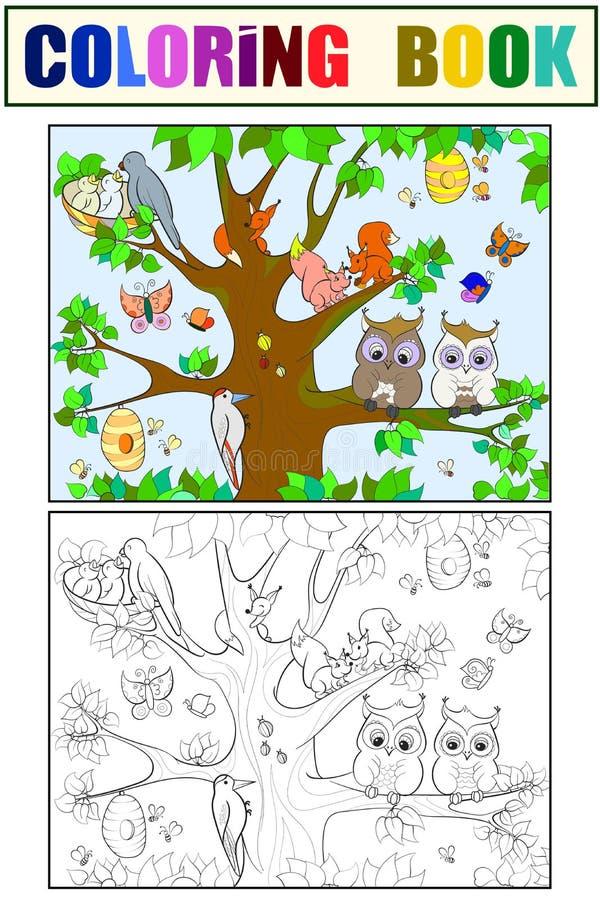 Gli animali e gli uccelli che vivono sulla coloritura dell'albero per il fumetto dei bambini vector l'illustrazione illustrazione di stock