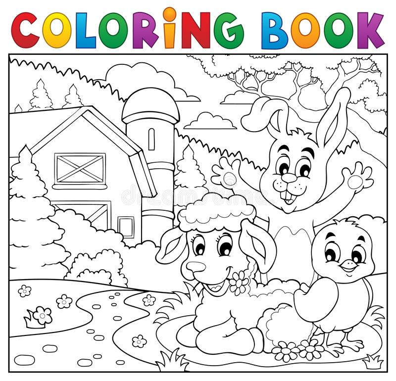 Gli animali felici del libro da colorare si avvicinano all'azienda agricola illustrazione di stock