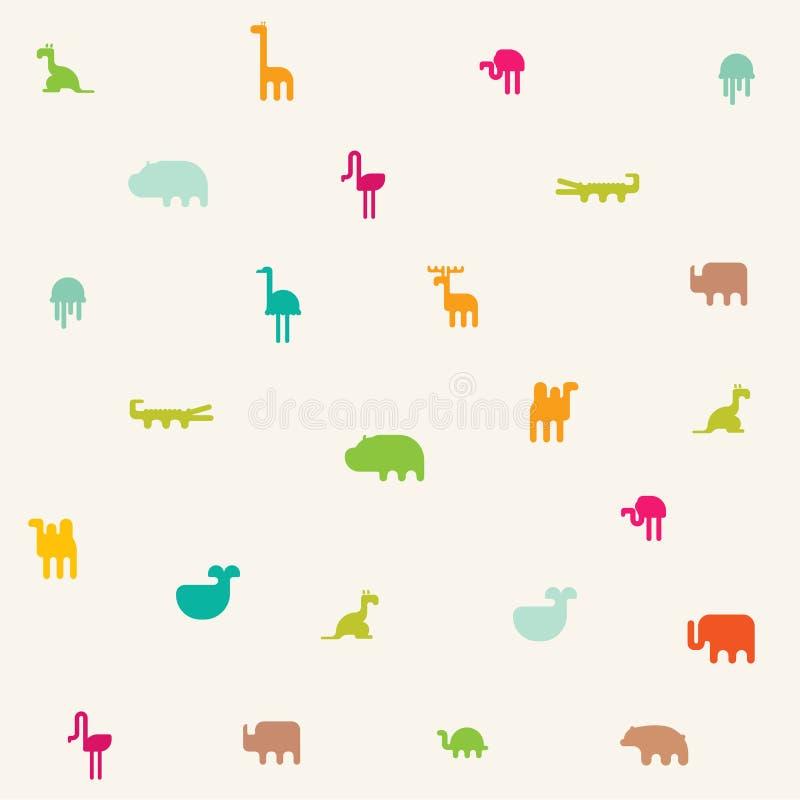 Gli animali profilano il modello senza cuciture Progettazione piana dell'illustrazione geometrica illustrazione vettoriale