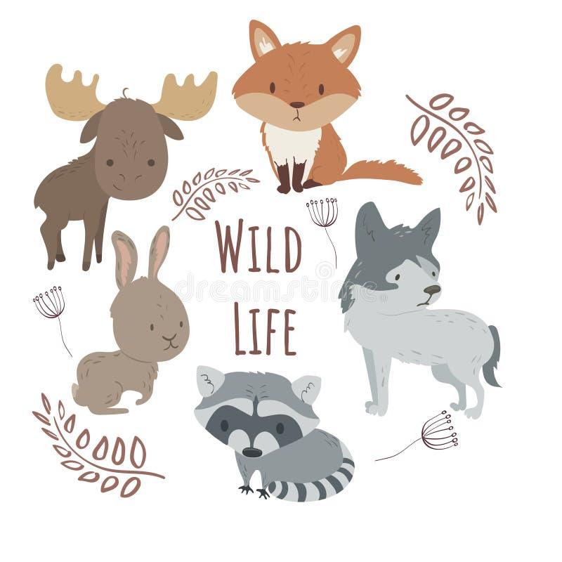 Gli animali selvaggi della foresta hanno messo l'illustrazione del fumetto illustrazione di stock