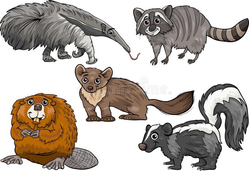 Gli animali selvatici hanno messo l'illustrazione del fumetto illustrazione vettoriale