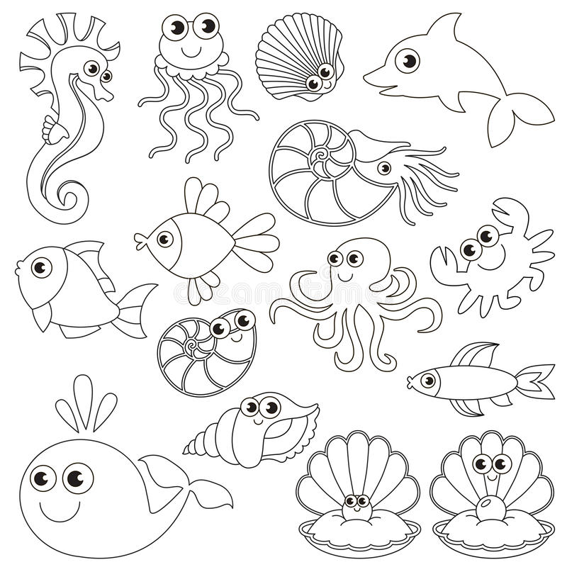 besides Coloring Pages besides Crab Colouring Pages also Cute Seahorse Vector 16135935 additionally Easy Sea Animals To Draw 2. on ocean animal drawings