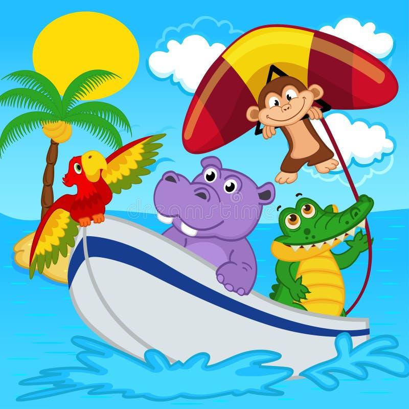 Gli animali sulla barca guidano con la scimmia sul deltaplano illustrazione di stock