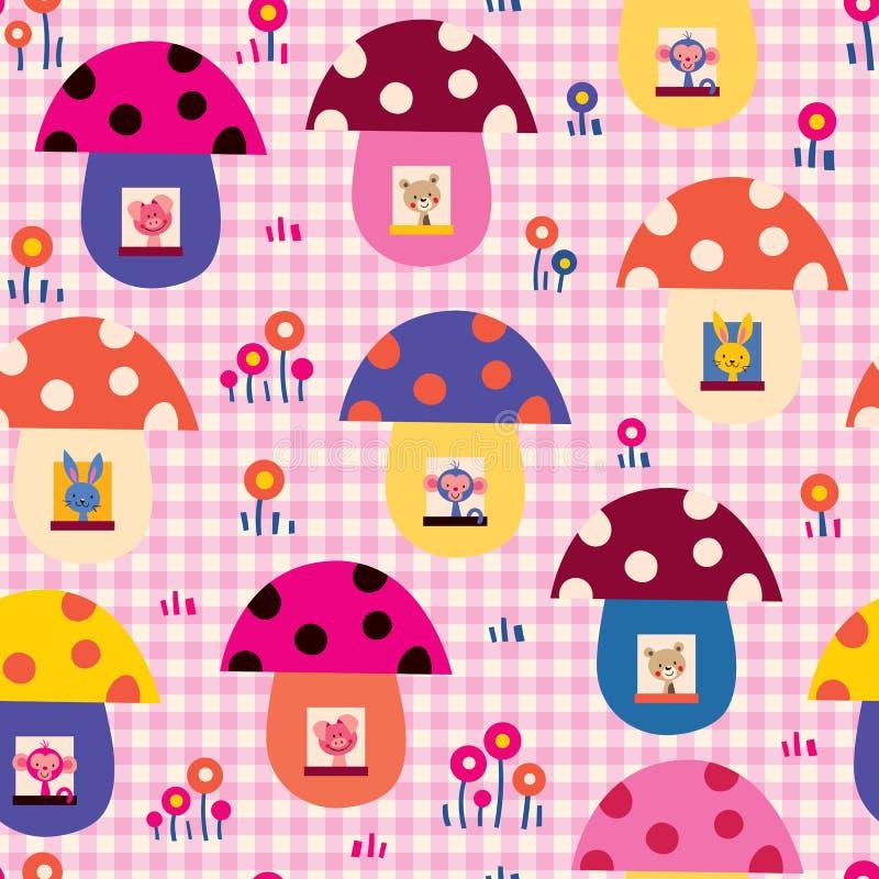 Gli animali svegli del bambino in fungo alloggia il modello dei bambini illustrazione vettoriale