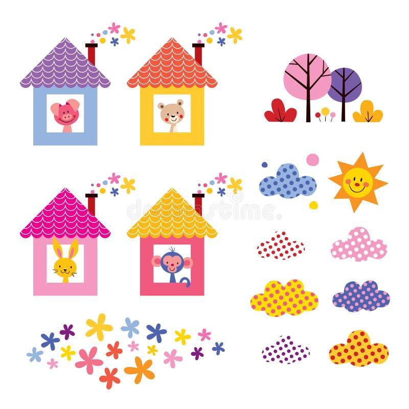 Gli animali svegli nei bambini delle case progettano l'insieme di elementi royalty illustrazione gratis