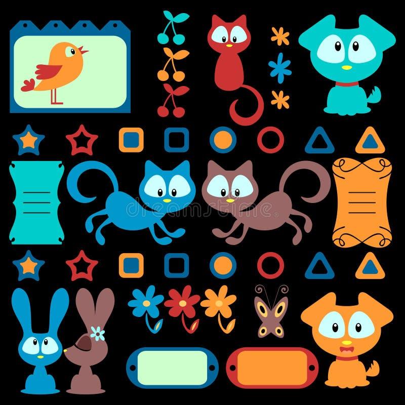 Gli animali variopinti del fumetto hanno impostato illustrazione di stock