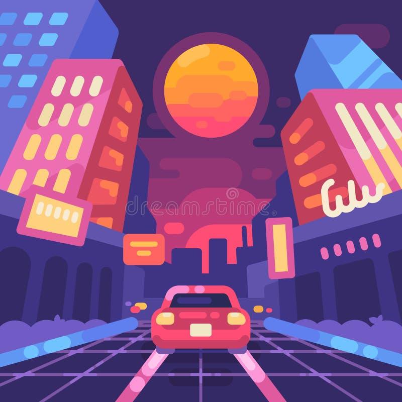 Gli anni 80 al neon della via della città di notte disegnano l'illustrazione piana Nuova retro onda illustrazione vettoriale
