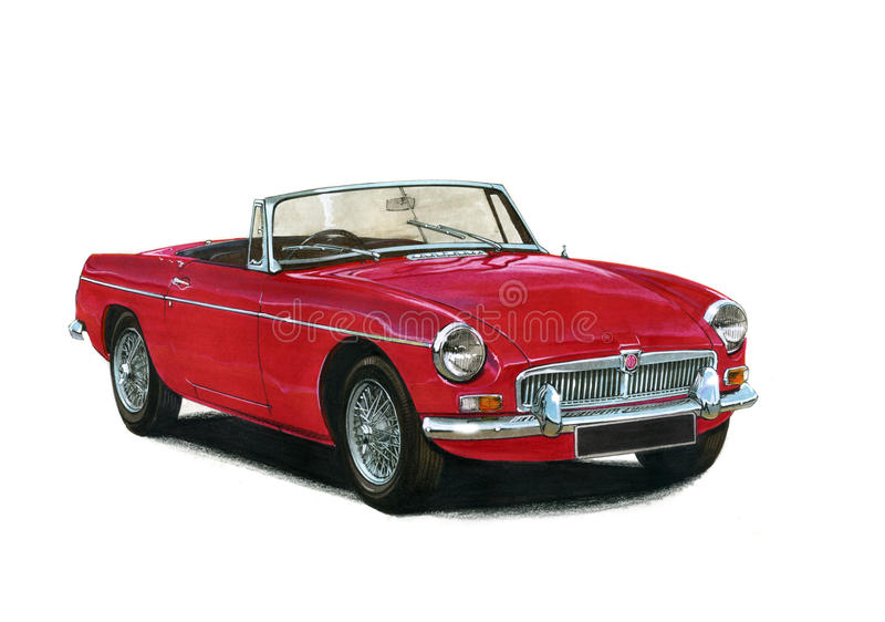 Gli anni 70 degli anni 60 dell'automobile scoperta a due posti di MGB illustrazione di stock