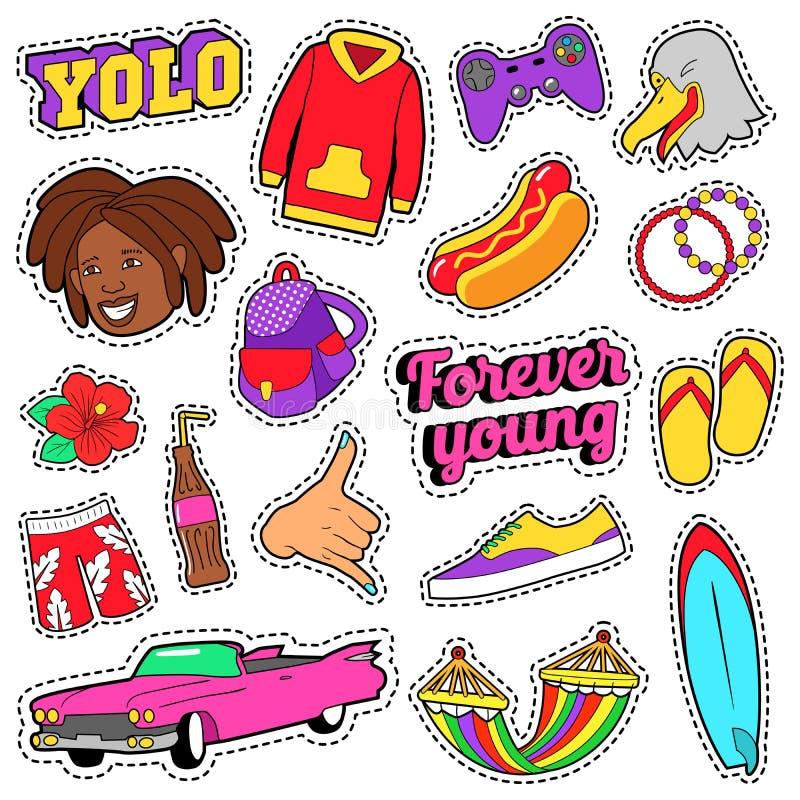 Gli anni dell'adolescenza adattano l'insieme con l'automobile rosa, gli alimenti a rapida preparazione ed i vestiti variopinti pe royalty illustrazione gratis
